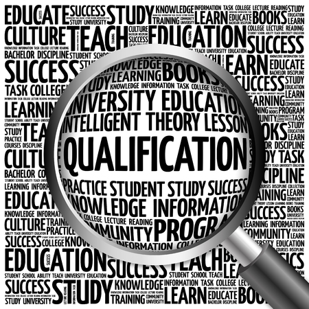 qualification: Qualification word cloud with magnifying glass, concept