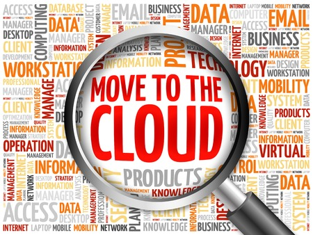 remote backup service: Move to the Cloud word cloud with magnifying glass, business concept