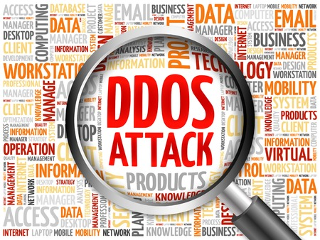 backdoor: DDOS Attack word cloud with magnifying glass, business concept Stock Photo
