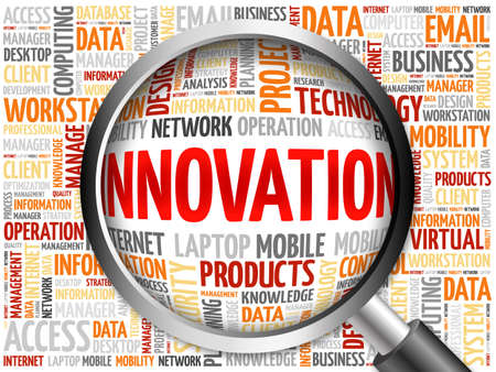 innovation word: INNOVATION word cloud with magnifying glass, business concept Stock Photo