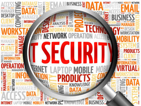 adware: IT Security word cloud with magnifying glass, business concept