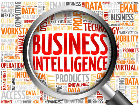 involves: Business intelligence word cloud with magnifying glass, business concept