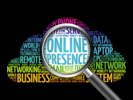 Online Presence word cloud with magnifying glass, business concept Stock Photo
