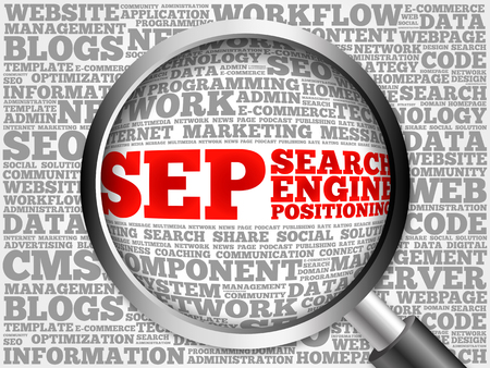 cloud search engine: SEP (search engine positioning) word cloud with magnifying glass, business concept