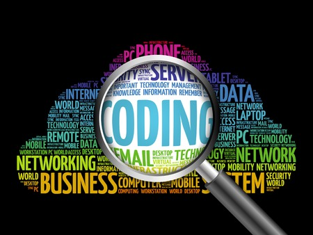 compiler: Coding word cloud with magnifying glass, business concept Stock Photo