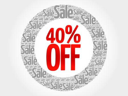 40: 40% OFF words cloud, business concept background