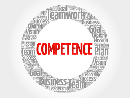 competence: COMPETENCE circle word cloud, business concept