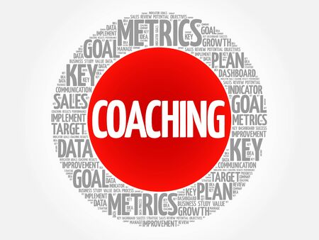 Coaching circle word cloud, business concept background