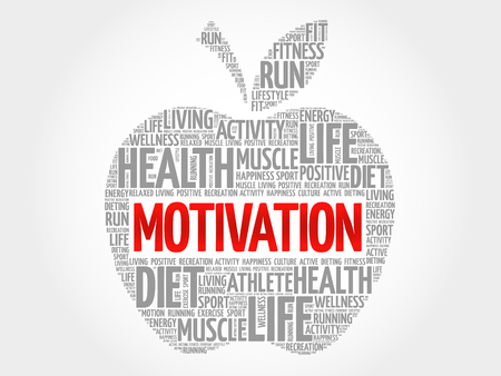 creative potential: MOTIVATION apple word cloud, health concept