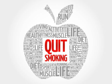 quit: Quit Smoking apple word cloud, health concept Illustration