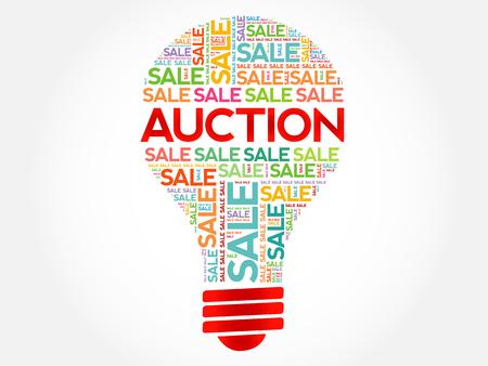 barter: AUCTION bulb word cloud, business concept background