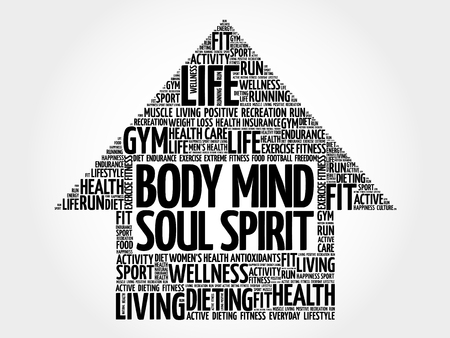 intake: Body Mind Soul Spirit arrow word cloud, health concept Illustration