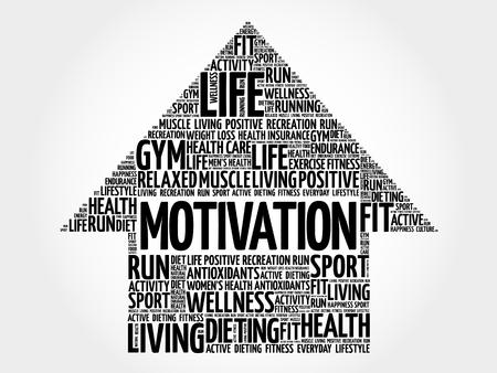 MOTIVATION 화살표 단어 구름, 건강 개념