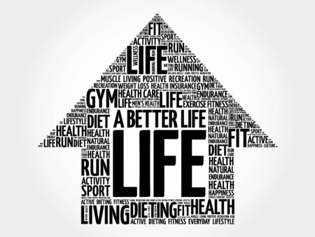 joyous life: A Better Life arrow word cloud, health concept