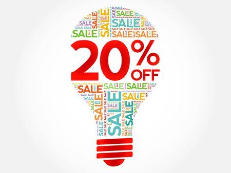 20: 20% OFF SALE bulb word cloud, business concept background