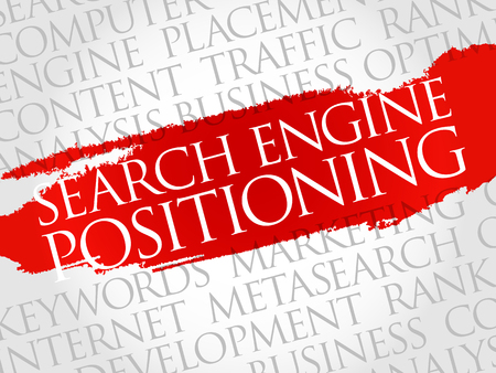 search engine optimized: SEP - search engine positioning word cloud, business concept Illustration
