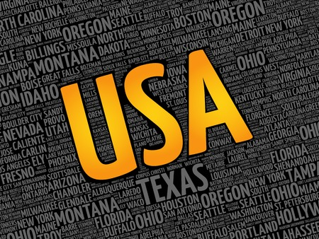 american cities: USA cities word cloud concept background