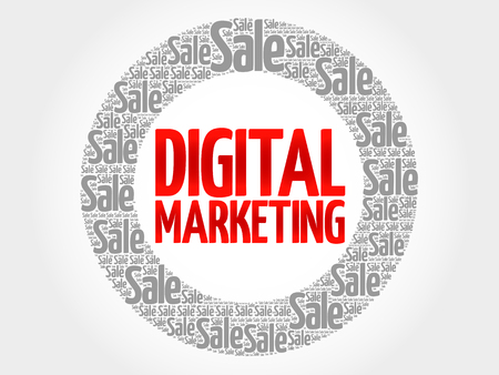 decoding: Digital Marketing words cloud, business concept background Illustration