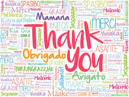 Dank u Word Cloud concept achtergrond in vele talen Stock Illustratie