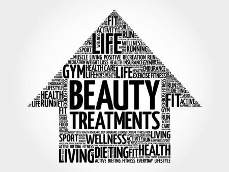 spa collage: Beauty Treatments arrow word cloud, health concept Illustration