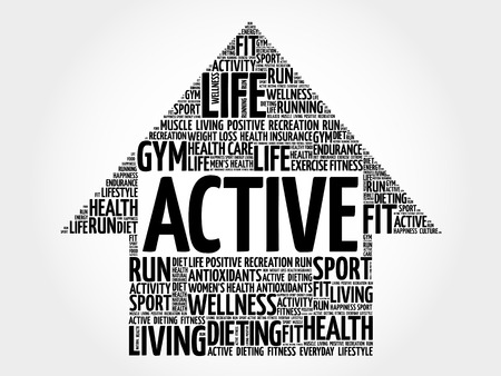 active arrow: ACTIVE arrow word cloud, health concept