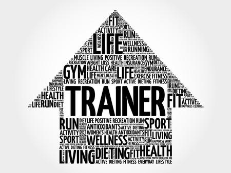 Trainer arrow word cloud, health concept