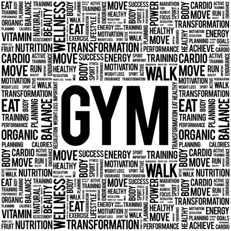 word clouds: GYM word cloud background, health concept