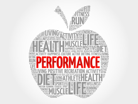 performed: PERFORMANCE apple word cloud, health concept