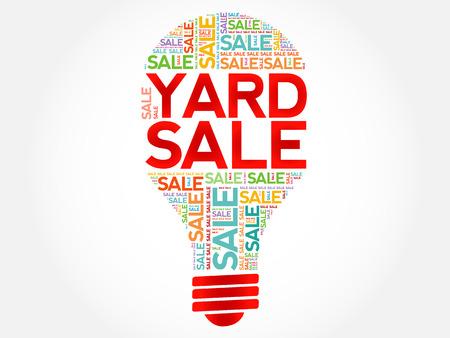yard sale: YARD SALE bulb word cloud, business concept background