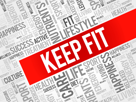 fit: KEEP FIT word cloud, health concept background