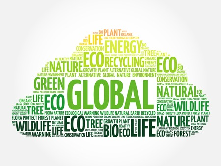 sufficient: Global word cloud, conceptual green ecology background