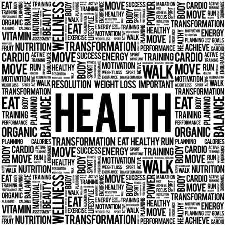 nursing department: Health word cloud background, health concept