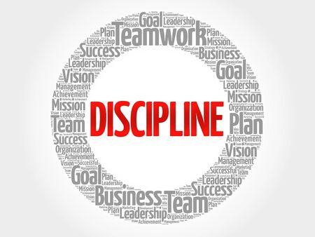 discipline: DISCIPLINE circle word cloud, business concept