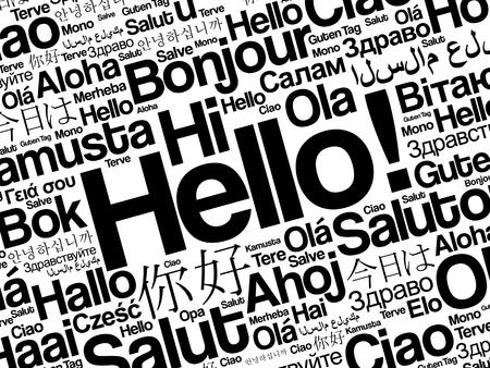Ciao nube di parola in diverse lingue del mondo, concetto di fondo