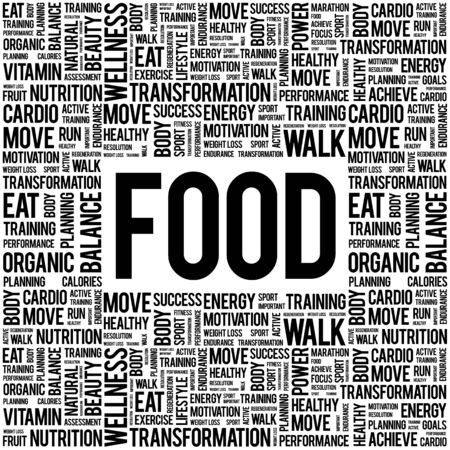 vitamine: FOOD word cloud background, health concept