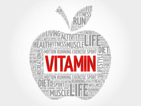 chain reaction: VITAMIN apple word cloud, health concept