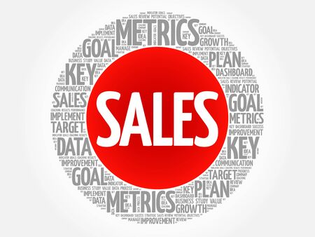 relationsip: Sales circle word cloud, business concept background Illustration
