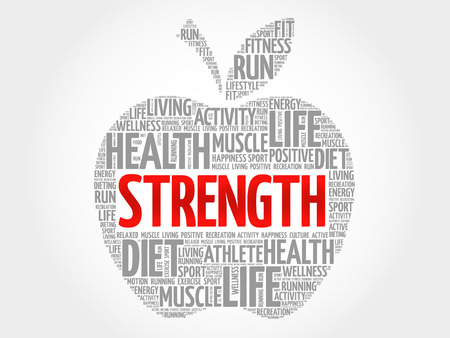 strength: Strength apple word cloud, health concept