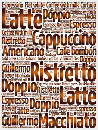 Liste Der Kaffee-Getränke Worte Wolke Plakathintergrund Lizenzfrei ...