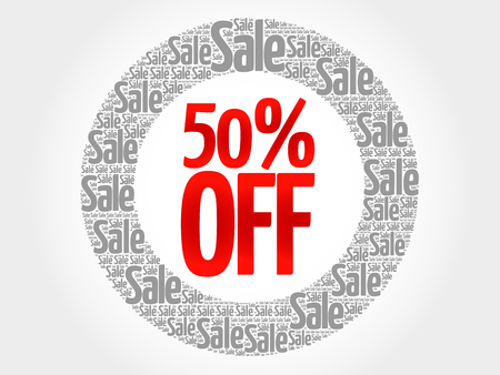 50  off: 50% OFF words cloud, business concept background