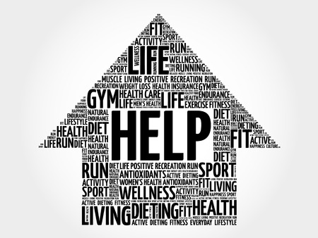 supportive: HELP arrow word cloud, health concept