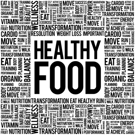 word clouds: Healthy Food word cloud background, health concept