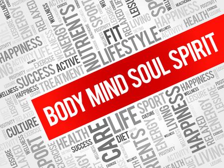 Body Mind Soul Spirit mot nuage fond, concept de santé Vecteurs