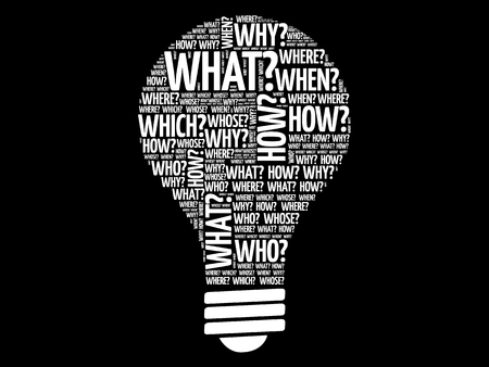 questionable: Question words bulb, word cloud concept Illustration