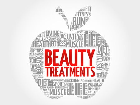 spa collage: Beauty Treatments apple word cloud, health concept