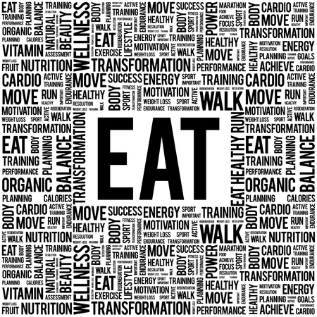 vitamine: EAT word cloud background, health concept