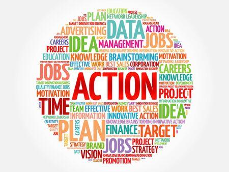 estimating: ACTION word cloud, business concept