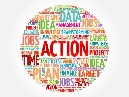 ACTION word cloud, business concept