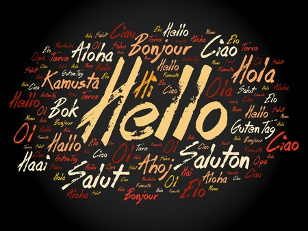 Hello word cloud in different languages of the world, background concept Фото со стока - 57527207