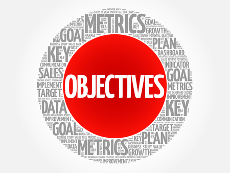 cohesive: Objectives circle word cloud, business concept background Illustration